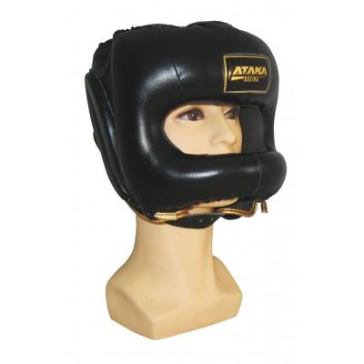 Шлем для бокса АТАКА BOXING кожа с защитным бампером (защитой носа)