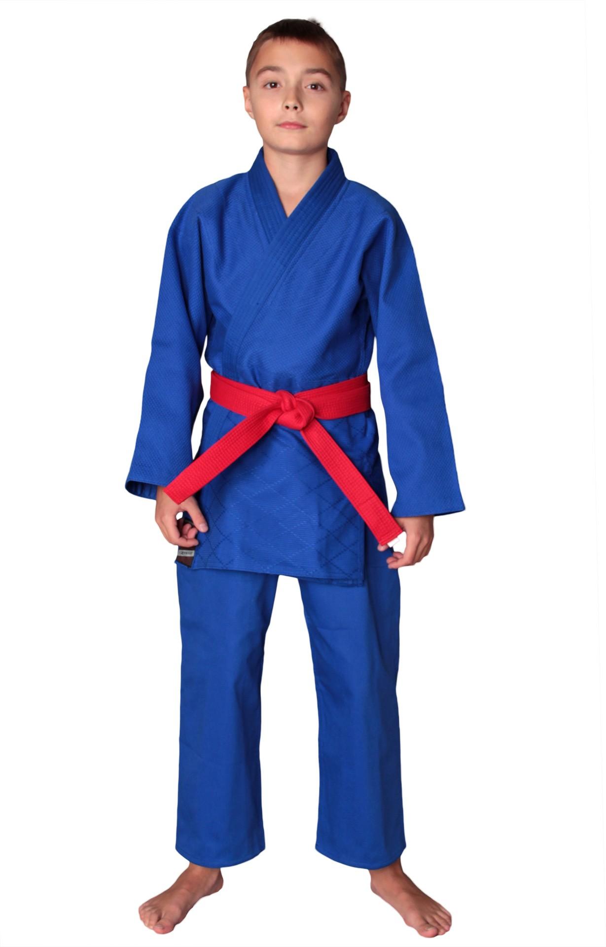 Униформа дзюдо EXPERT синяя, в комплекте с белым поясом